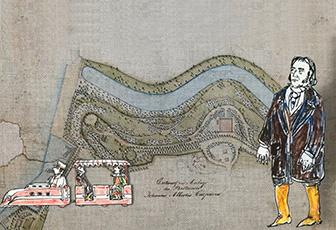 Historische Karte der ersten Hamburg-Ansiedlung (Zeichnung)